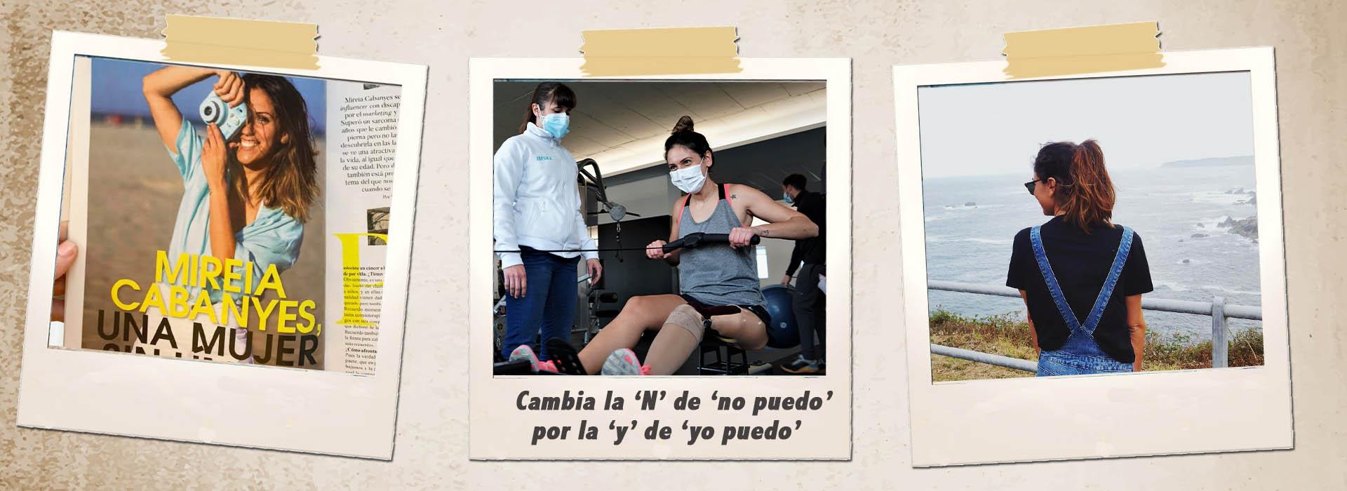 Mireia y un cartel: cambia la 'N' del No puedo por la 'y' del YO PUEDO